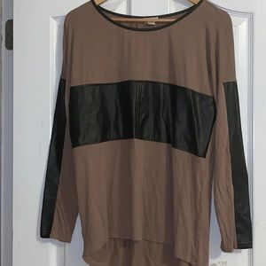 Leather Patch Top